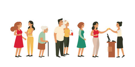 Illustration pour People waiting in long queue at counter with old woman young couple girlfriends. - image libre de droit