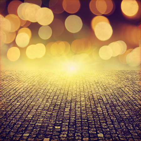 Photo pour Stone pathway and abstract bokeh lights in grunge style. - image libre de droit
