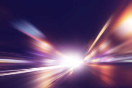 Foto per Abstract image of speed motion on the road at night time. - Immagine Royalty Free