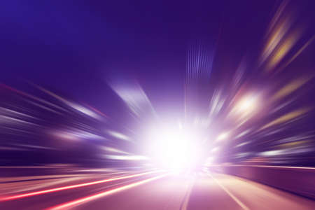 Photo pour Abstract image of speed motion on the road at dark. - image libre de droit