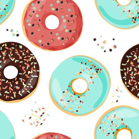 Illustration pour Seamless colorful donut pattern. Sweet cartoon background. - image libre de droit