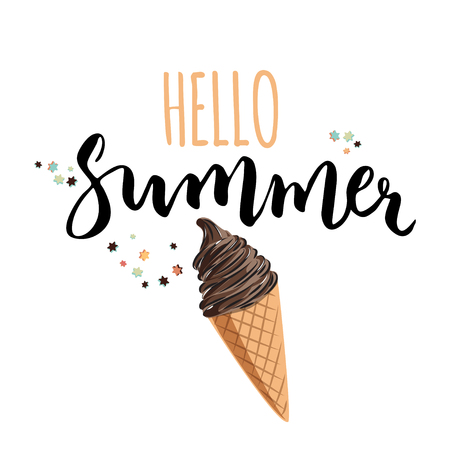 Illustration pour Hello summer illustration with hand written text. Seasonal poster with ice cream. Vector illustration. - image libre de droit