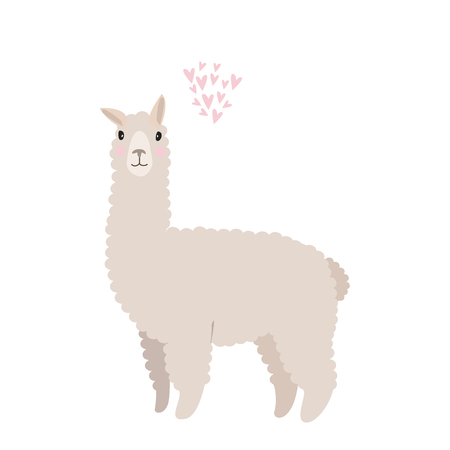 Illustrazione per Cute vector flat illustration. Isolated llama with cloud of hearts. - Immagini Royalty Free
