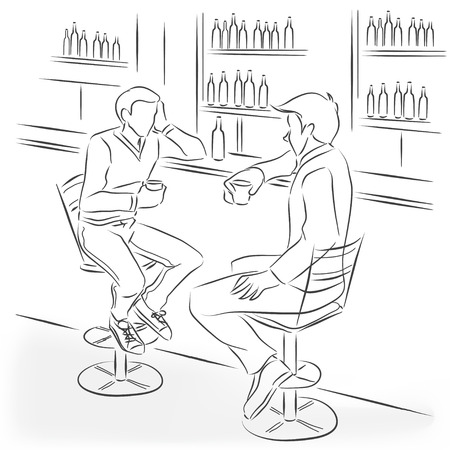 Illustration pour Two men sit in the bar at a bar counter. They're talking and drinking alcohol cocktails and strong drinks. Vector monochrome drawing drawn by the lines. - image libre de droit