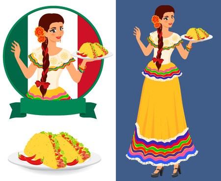 Illustration for Young pretty waitress serves plates with classical mexican food - taco. Girl wears ethnic national dress. She is good hostess and has beautiful smile. Isolated color vector objects. - Royalty Free Image