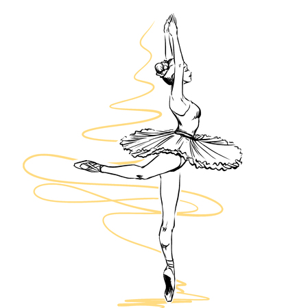 Illustration for Plastic elegant woman dancer shows classical ballet elements. She wears traditional tutu and pointes. Isolated on white background - Royalty Free Image