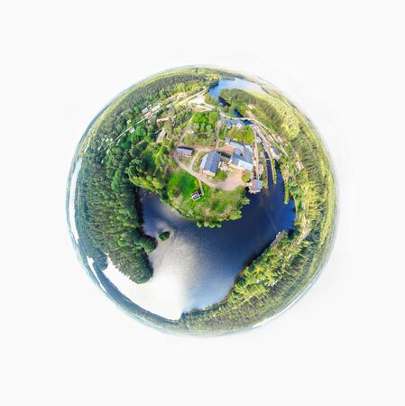 Foto de A three dimensional panoramic view of the Verla in Kouvola, Finland in a mini planet panorama style. - Imagen libre de derechos