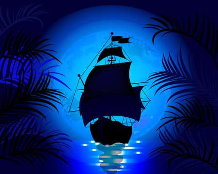 Illustration pour Amazing night landscape with sailing ship at sea on a background of blue moon - image libre de droit