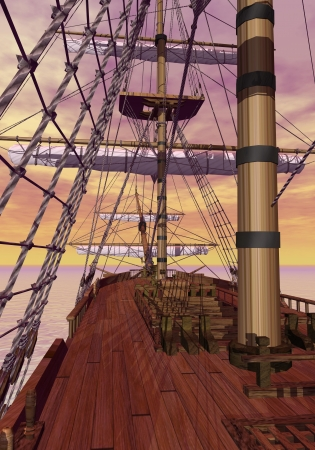 View of an old merchant ship deck with furled sails by sunset