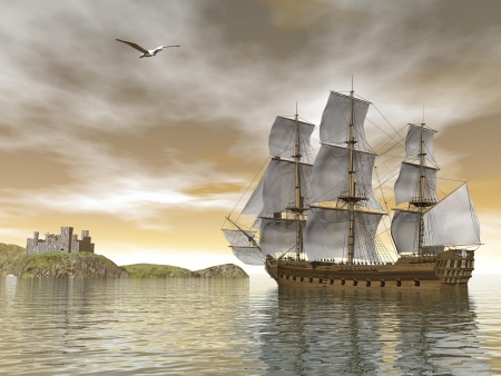 Photo pour Beautiful detailed old merchant ship going back to castle and seagull flying around by cloudy sunset - image libre de droit
