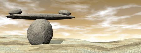 Photo pour Balanced stones on the beach sand by brown sunset - 3D render - image libre de droit