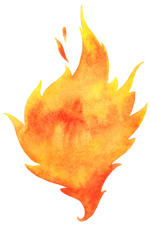 Illustration for Watercolor vector fire. Tongue of flame with space for text. Hand drawn burning fire silhouette with sparks. - Royalty Free Image