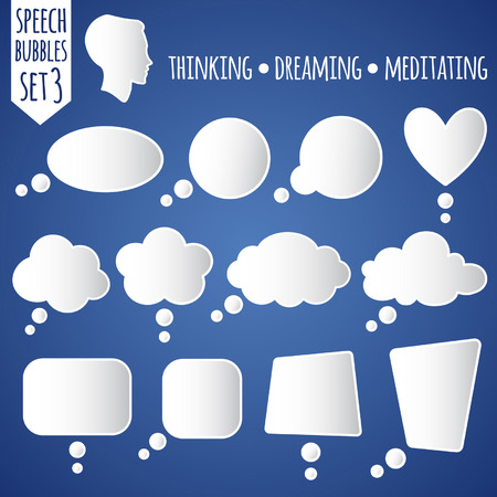 Illustration pour Collection of white vector speech bubbles. Set 3 - thinking, dreaming, meditating. With thinking head silhouette. - image libre de droit