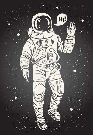 Illustration pour Astronaut in spacesuit with raised hand in salute. Speech bubble with greeting. Ink drawn illustration. - image libre de droit