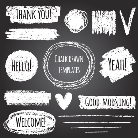 Illustration for Chalk or pencil drawn graphic elements collection - strokes, stripes, frames, rectangle, oval and round shapes, heart, tick. Chalk forms on black board with lettering - thank you, hello, welcome - Royalty Free Image