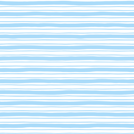 Illustration pour Narrow and wide hand drawn stripes seamless pattern. Light blue and white striped background. Slightly wavy uneven streaks. Bars of different width texture. - image libre de droit
