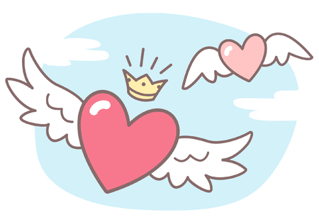 Illustration pour Hearts with wings, sky with clouds. Valentines Day vector illustration. Cute cartoon style picture. Winged hearts, shining crown, blue sky background with clouds. - image libre de droit