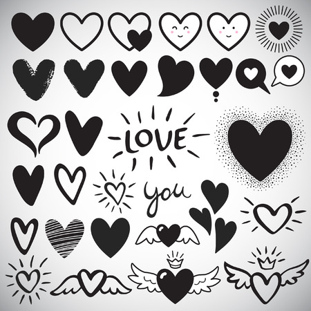 Illustration pour Big set of various heart templates - simple flat design hearts with cute faces, brush drawn with rough, uneven edge, speech bubbles, doodle hearts. Lettering LOVE and YOU. Different hearts collection. - image libre de droit
