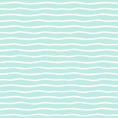 Ilustración de Wavy stripes seamless background. Thin hand drawn uneven waves vector pattern. Striped abstract template. Cute wavy streaks texture. Mint green and white bars. - Imagen libre de derechos