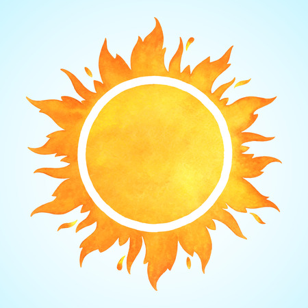 Ilustración de Watercolor vector sun with crown and sparks. Fire circle frame. Sun shape or flame border with space for text. - Imagen libre de derechos