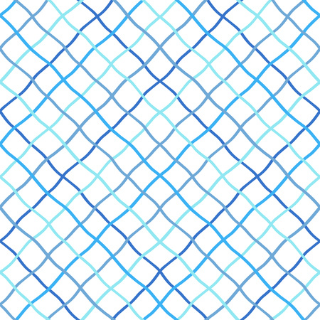 Ilustración de Deformed, warped, distorted, hand drawn, lattice, fishing net, trellis, grating texture, pattern. Navy blue sea, marine, seamless vector background. Mesh made of crossing wavy diagonal doodle stripes. - Imagen libre de derechos