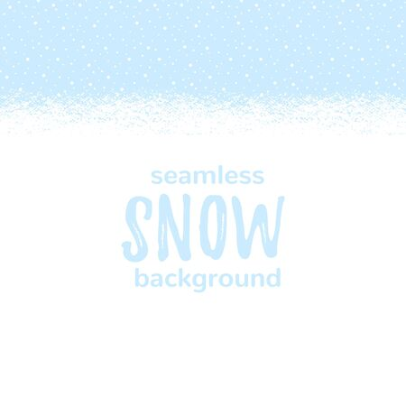 Illustration pour Snow-covered snowy, snowbound ground background landscape, horizontal seamless winter, New Year border. Blue sky with falling snow, snowfall, dots, round snowflakes texture. Brush hand drawn edge. - image libre de droit