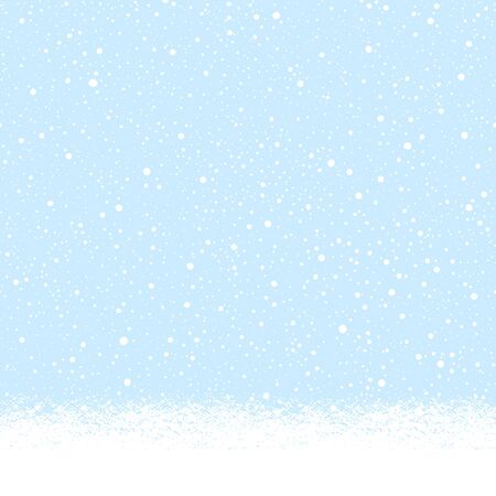 Illustration pour Snow-covered snowy, snowbound ground background landscape, horizontal seamless winter border. Blue sky with falling snow, snowfall, uneven dots, round tiny snowflakes texture. Brush hand drawn edge. - image libre de droit