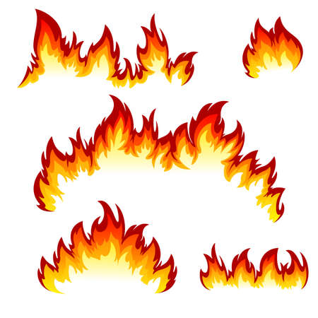 Illustration for Flames of different shapes on a white background. - Royalty Free Image
