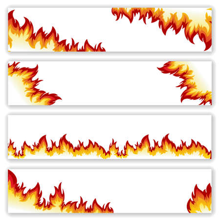 Illustration for Set of  banners  flame of different shapes on a white background.Clipping Mask. - Royalty Free Image