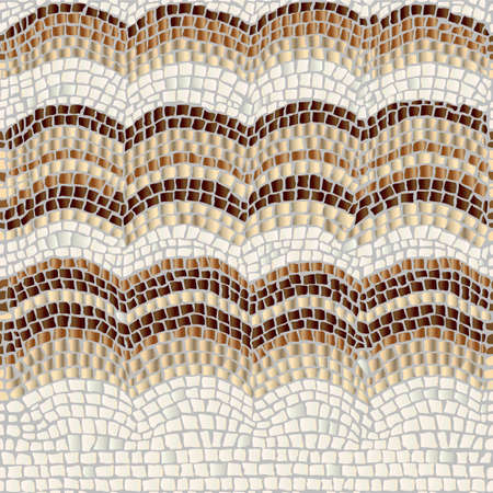 Illustration for Three beige and brown waves on a light background imitate form of antique stone mosaic. - Royalty Free Image