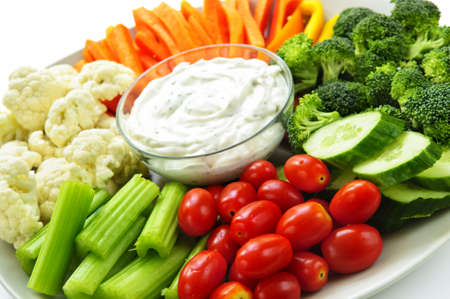 Photo for Platter of assorted fresh vegetables with dip - Royalty Free Image