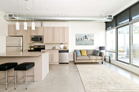 Kitchen and living room of loft apartment - artwork from photographer portfolio