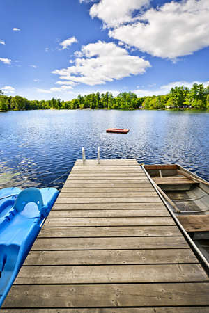 Wooden dock on beautiful summer lake in Ontario Canada