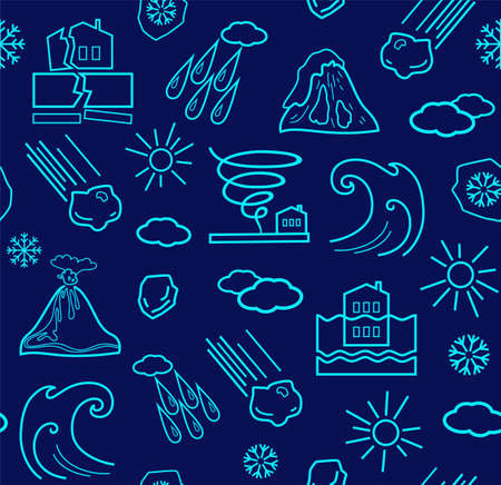 Natural disasters and weather conditions, seamless dark blue background. Vector background with linear icons of natural disasters and the weather. Blue image on a dark blue background.