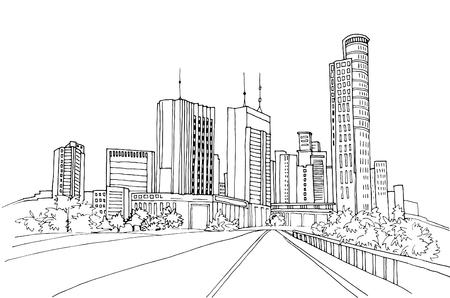 Illustrazione per Modern urban landscapes. Hand drawn line sketches. Tel Aviv, Israel. Vector illustration on white - Immagini Royalty Free