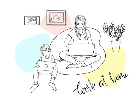 Illustration pour Mom with laptop and child with tablet working at home because of quarantine. Girl sitting in a chair with a laptop. Freelancer works from home. The danger of coronavirus. Everyone should stay home - image libre de droit