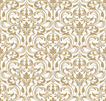 Illustration for Floral pattern for Wallpaper baroque, damask seamless vector background in gold and white ornament. - Royalty Free Image
