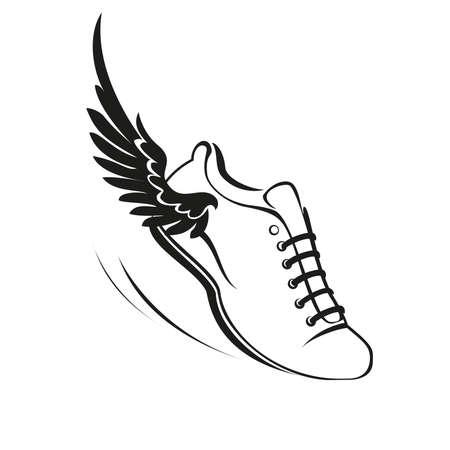 Ilustración de Sports shoes with a wing. Vector illustration. - Imagen libre de derechos