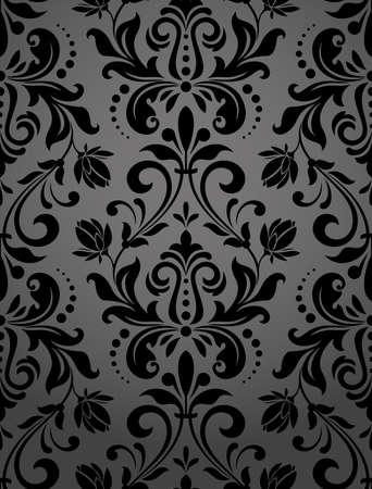 Illustration for Floral pattern. Wallpaper baroque, damask. Seamless vector background. Black ornament - Royalty Free Image