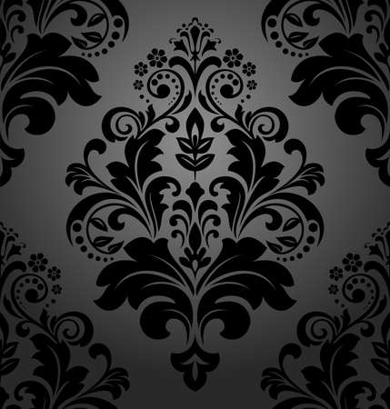 Illustration pour Floral pattern. Wallpaper baroque, damask. Seamless vector background. Black ornament - image libre de droit
