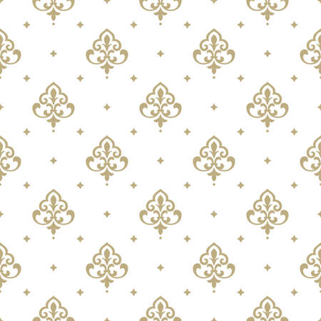Illustration pour Wallpaper in the style of Baroque. A seamless vector background. White and gold floral ornament. Graphic vector pattern - image libre de droit