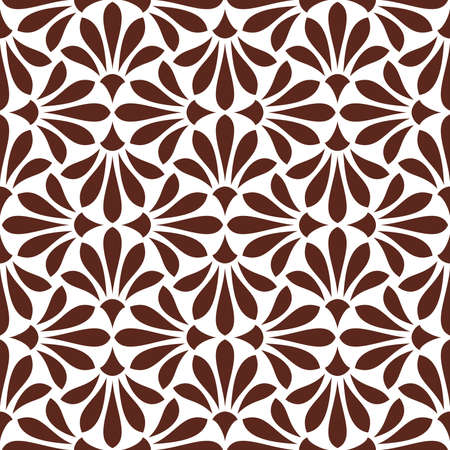Illustration pour Flower geometric pattern seamless vector background white and brown ornament. - image libre de droit