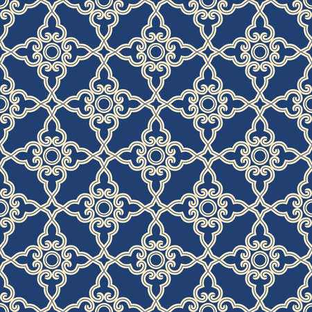 Illustration pour Abstract geometry pattern in Arabian style. Seamless vector background. Blue and grey graphic ornament - image libre de droit