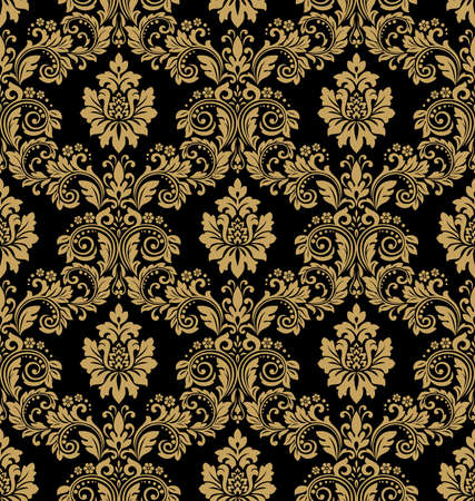 Illustration for Floral pattern. Wallpaper baroque, damask. Seamless vector background. Black and gold ornament - Royalty Free Image