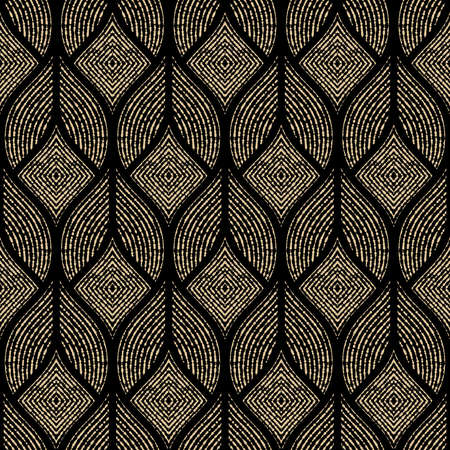 Illustration for The geometric pattern with wavy lines, points. Seamless vector background. Gold and black texture. Simple lattice graphic design - Royalty Free Image
