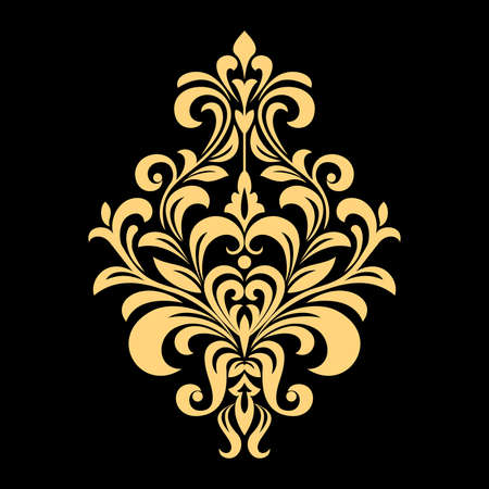 Illustration pour Golden vector pattern on a black background. Damask graphic ornament. Floral design element. - image libre de droit