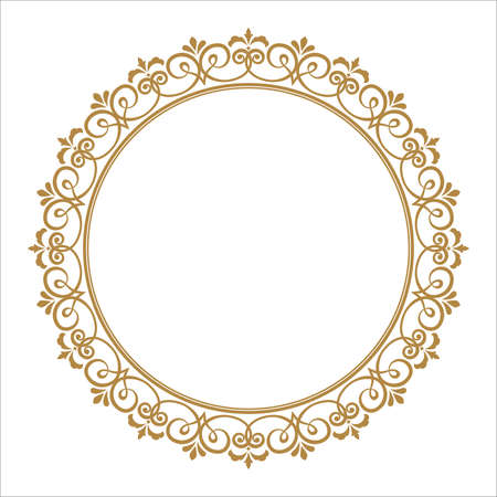 Illustration pour Decorative frame. Elegant vector element for design in Eastern style, place for text. Floral golden border. Lace illustration for invitations and greeting cards. - image libre de droit