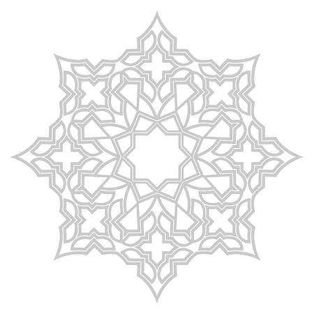 Photo for Decorative frame. Elegant element for design in Eastern style, place for text. Grey outline floral border. Lace illustration for invitations and greeting cards. - Royalty Free Image