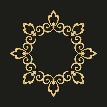 Photo for Decorative frame. Elegant element for design in Eastern style, place for text. Golden outline floral border. Lace illustration for invitations and greeting cards - Royalty Free Image