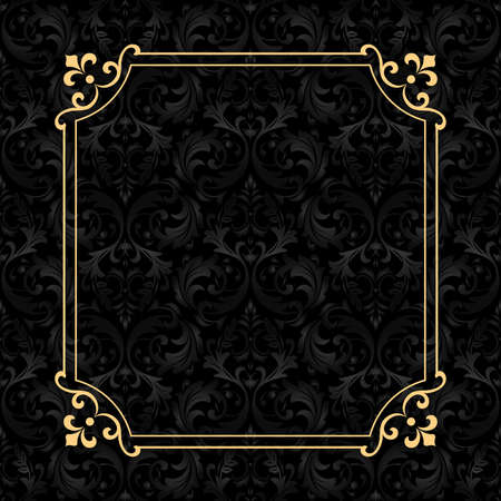 Foto de Vintage gold frame on the black background. Damascus antique ornament. Seamless abstract floral pattern. - Imagen libre de derechos